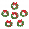 6 x Holly Wreaths Christmas Decorations Embellishments