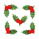 6 x Bright Holly Christmas Decorations Embellishments