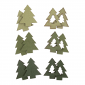 12 x Wooden Trees Green Christmas Decorations Embellishments