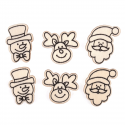 6 x Wooden: Assorted Figures Christmas Decorations Embellishments