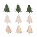 9 x Stressed Wood: Trees Christmas Decorations Embellishments