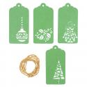 4 x Christmas Tags: Green Christmas Decorations Embellishments