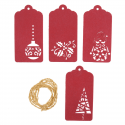 4 x Christmas Tags: Red Christmas Decorations Embellishments