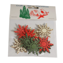 9 x Wooden: Large Snowflakes Christmas Decorations Embellishments