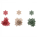 18 x Wooden: Small Stars Christmas Decorations Embellishments
