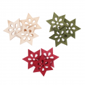 9 x Wooden: Large Stars Christmas Decorations Embellishments