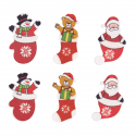 8 x Wooden: Santa and Bear Stickers: Christmas Decorations Embellishments