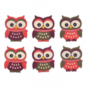 8 x Wooden: Owl Stickers Christmas Decorations Embellishments