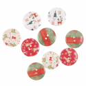 9 x Wooden: Buttons: Assorted Christmas Decorations Embellishments