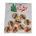 9 x Wooden: Santa Buttons Christmas Decorations Embellishments