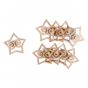9 x Wooden: Star Stickers Christmas Decorations Embellishments