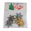 8 x Wooden: Snowflake Stickers Christmas Decorations Embellishments