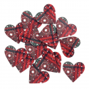 15 x Wood: Patterned Heart Stickers Christmas Decorations Embellishments