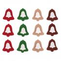 12 x Felt: Bell Stickers Christmas Decorations Embellishments