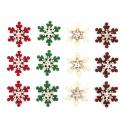 12 x Felt: Snowflake Stickers Christmas Decorations Embellishments
