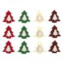 12 x Felt: Tree Stickers Christmas Decorations Embellishments