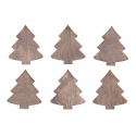 6 x Wooden: Trees Christmas Decorations Embellishments