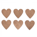 6 x Wooden: Hearts Christmas Decorations Embellishments