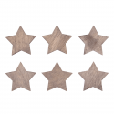 6 x Wooden: Stars Christmas Decorations Embellishments