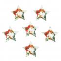 5 x Wooden: Santa & Snowman Stars Christmas Decorations Embellishments