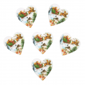5 x Wooden: Santa Sleigh Hearts Christmas Decorations Embellishments