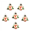 5 x Wooden: Snowman Trees Christmas Decorations Embellishments