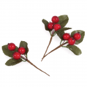 3 x Red Large Berry Pick Christmas Decorations Embellishments