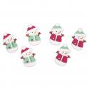 6 x Waistcoat Snowman Christmas Decorations Embellishments