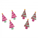 6 x Potted Tree Christmas Decorations Embellishments