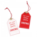 2 x Do Not Open Christmas Decorations Embellishments