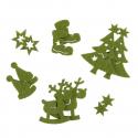 12 x Felt Assorted Green Christmas Decorations Embellishments