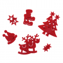 12 x Felt Assorted Red Christmas Decorations Embellishments