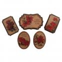 5 x Poinsettia Christmas Decorations Embellishments