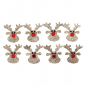 8 x Glitter Reindeer Christmas Decorations Embellishments