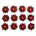 12 x Mini Glitter Poinsettia Christmas Decorations Embellishments