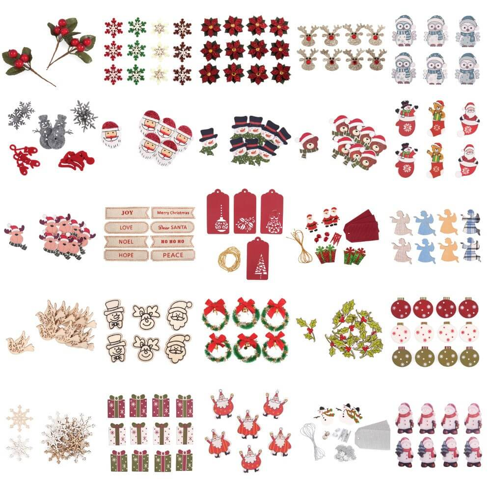 6 x Glitter Edge Baubles Christmas Decorations Embellishments