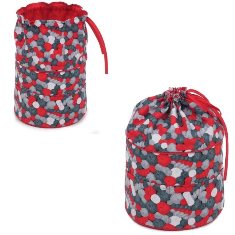 Classic Collection Crochet Bag With Drawstrings Balls Of Wool