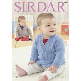 Sirdar Crochet Pattern 4847 Baby Cardigan Shawl Collar V Neck 0-3 Years