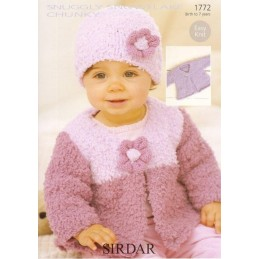Sirdar Crochet Pattern 4846 Baby Cardigan With Pitcot Edging 0-3 Years