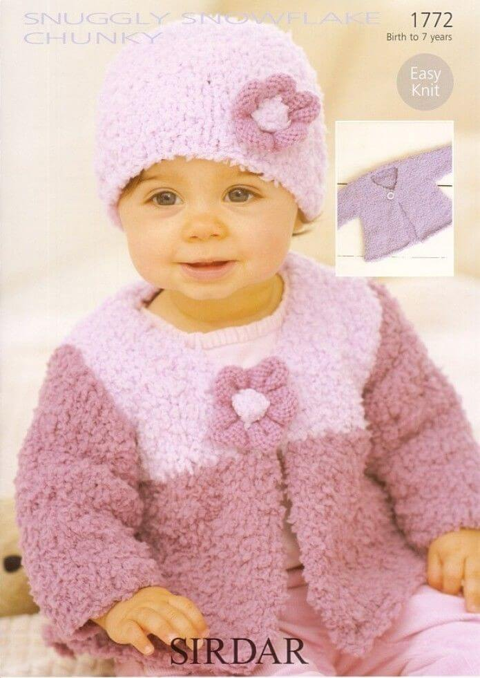 Sirdar Knitting Pattern 17720baby Flower Cardigan Hat 0 7 Years