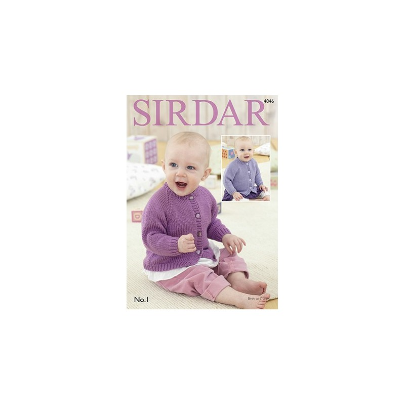 Sirdar Knitting Pattern 4846 Baby Cardigan With Pitcot Edging 0 3 Years