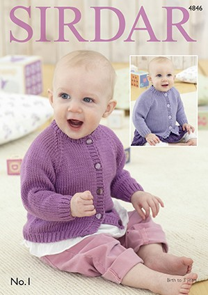 Sirdar Knitting Pattern 4846 Baby Cardigan With Pitcot Edging 0-3 Years