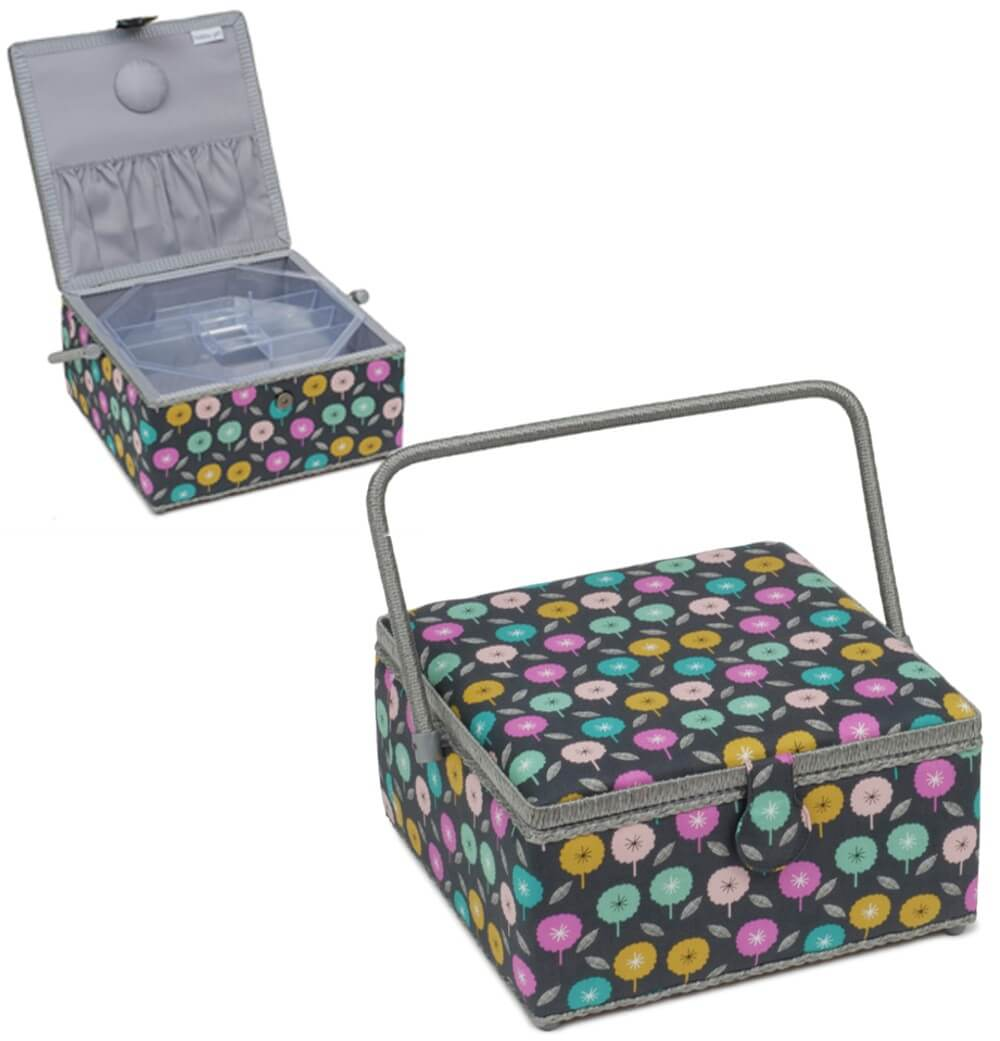 Premium Collection Sewing Box XL Square Confetti Flowers