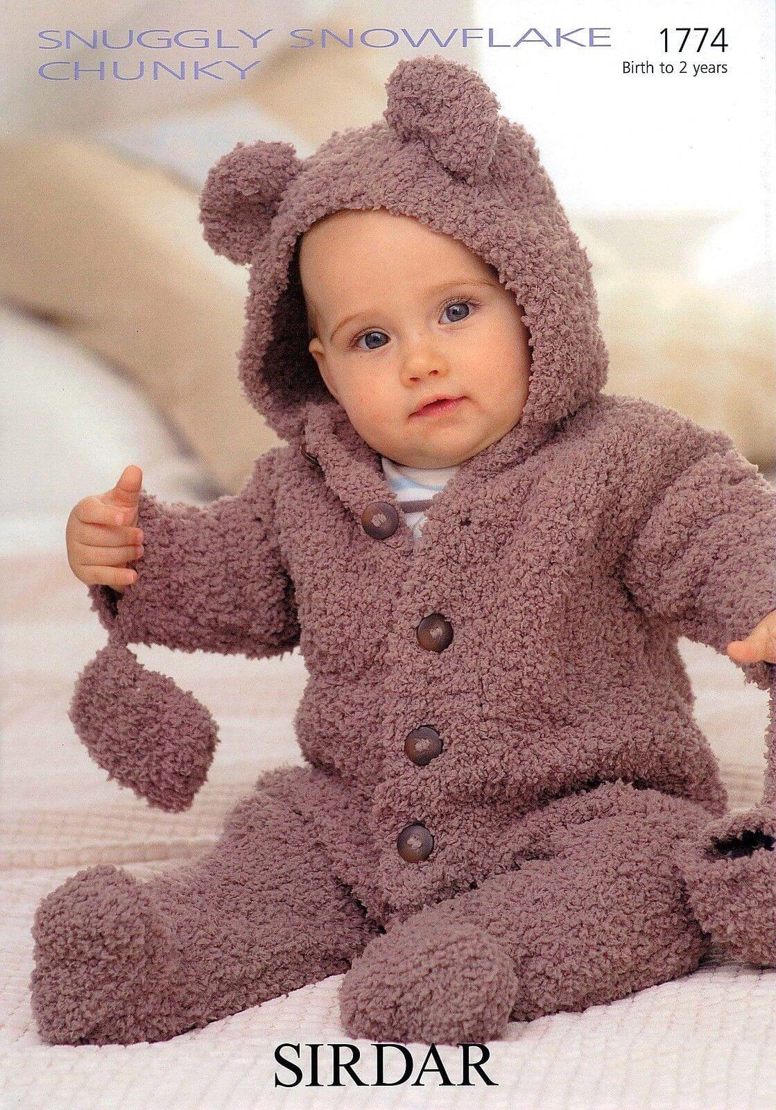 Sirdar Knitting Pattern 1774 Baby Bear Onesie With Mittens 0-2 Years