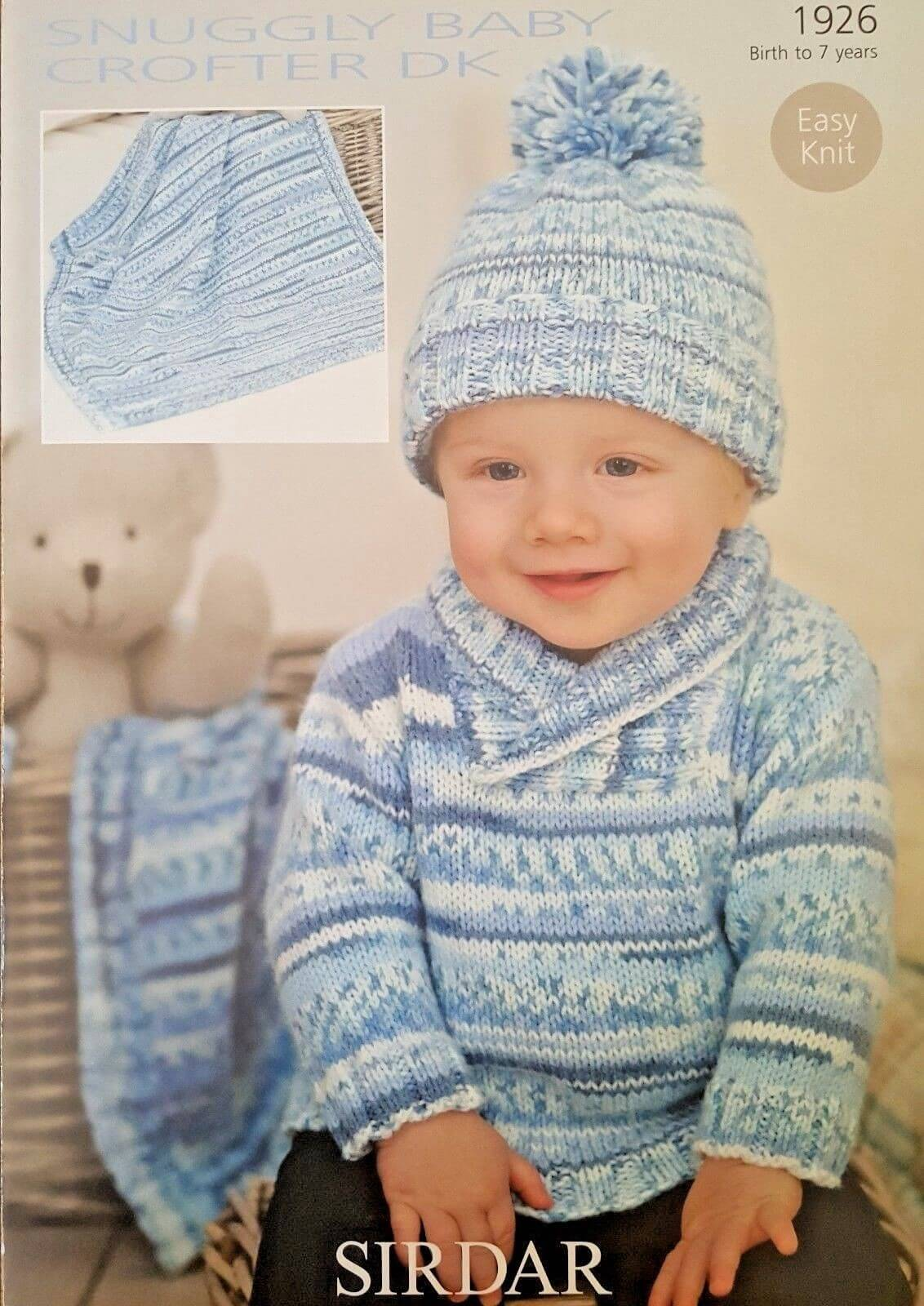 Sirdar Knitting Pattern 1926 Baby Turn Back Hat Cardigan Blabket 0-7 Years