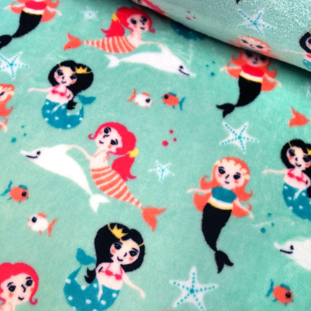 Mint Green Super Soft Cuddle Fleece Swimming Mermaids & Dolphins & Shells 147cm Wide