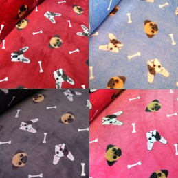 Super Soft Cuddle Fleece Pugs & French Bulldogs Pet Blanket 147cm Wide