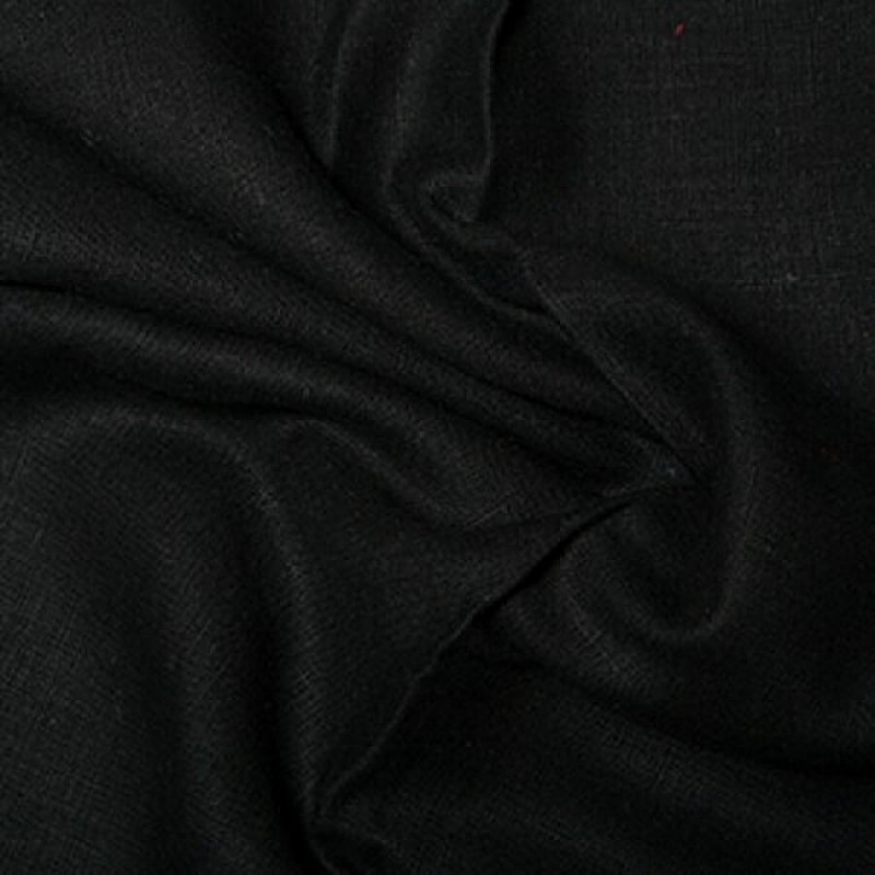 Washed 100% Linen Fabric Black