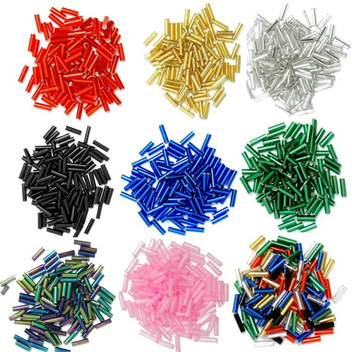 Silver 6mm Glass Bugle Beads  18 Colours