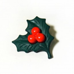 28mm Christmas Holly Leaf Festive Craft Buttons Xmas Seasonal